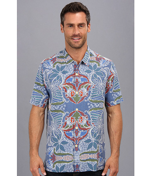 Tommy Bahama - Island Modern Fit Island Reggae S/S Camp Shirt (Stripe Blue) Men