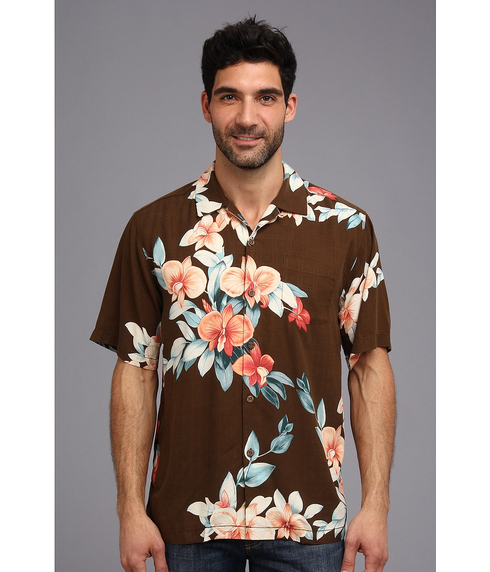 Tommy Bahama - Island Modern Fit Treasure Beach Floral S/S Camp Shirt (Cola) Men's Short Sleeve Button Up