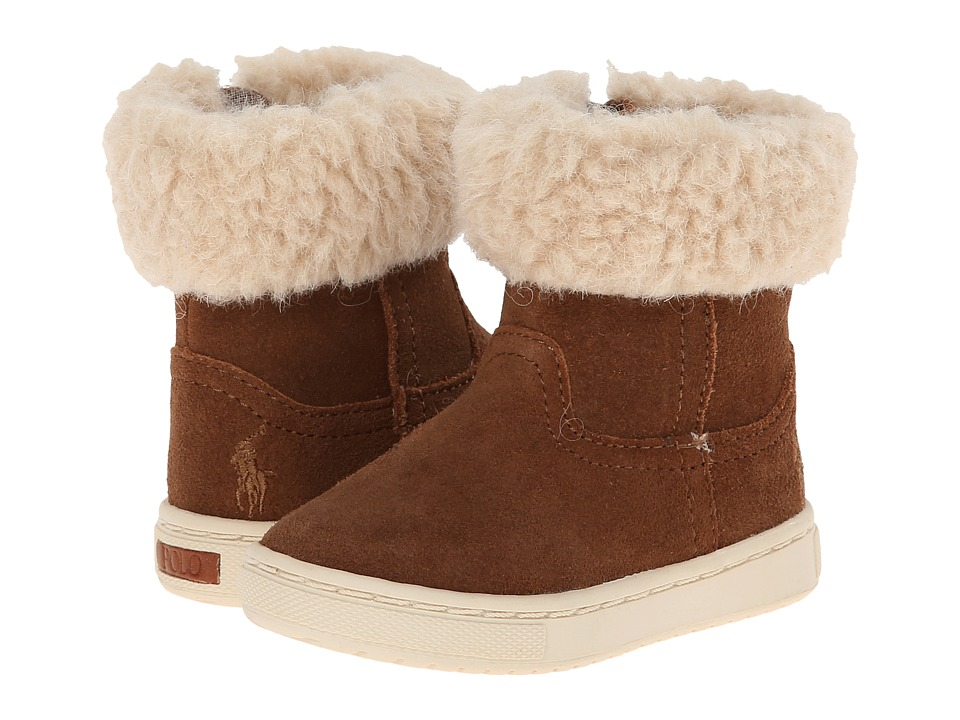 Polo Ralph Lauren Kids - Shelley Bootie FT14 (Toddler/Little Kid) (Snuff Suede w/ Cream Wool Collar) Girls Shoes