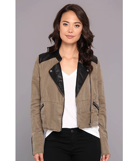 Free People - Washed Linen Vegan Pieced Jacket (Taupe Combo) Women