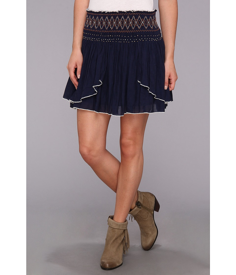 Free People - Lip Smocking Good Skirt (True Navy) Women