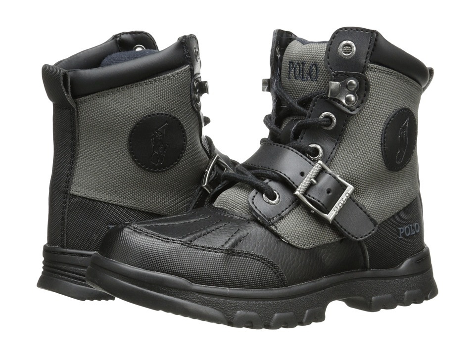 Polo Ralph Lauren Kids - Colbey Boot FT14 (Little Kid) (Black/Slate Grey Nylon) Boys Shoes