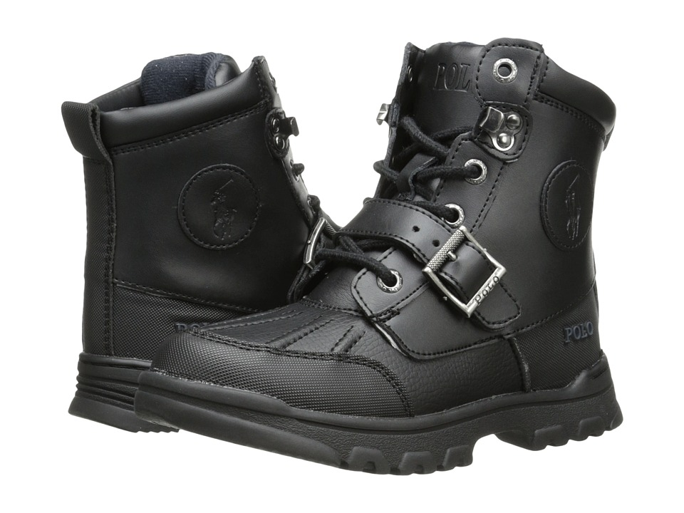 Polo Ralph Lauren Kids Colbey Boot FT14 (Little Kid) (Black Tumbled/Burnished Leather) Boys Shoes