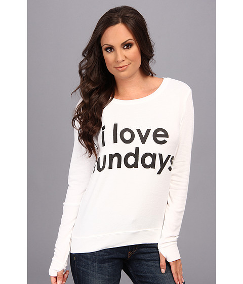 Peace Love World - I Love Sundays Comfy (White) Women's T Shirt