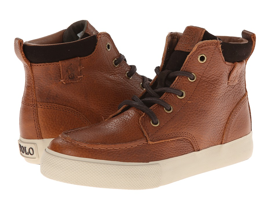 Polo Ralph Lauren Kids - Ted FT14 (Big Kid) (Brown Leather) Boys Shoes