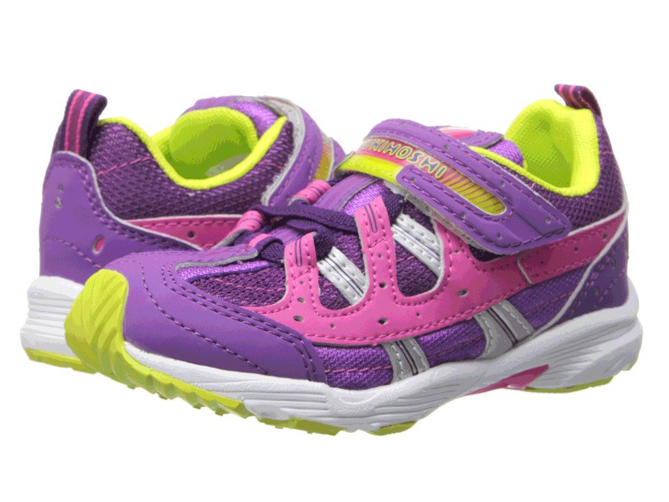 Tsukihoshi Kids - Speed (Toddler/Little Kid) (Purple/Lime) Girls Shoes