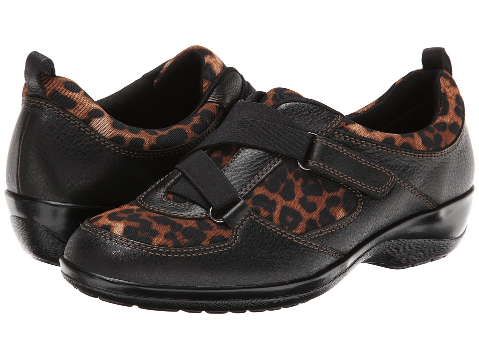 Softspots - Alice (Black/Tan Calf Ionic/Leopard Mesh) Women's Hook and Loop Shoes
