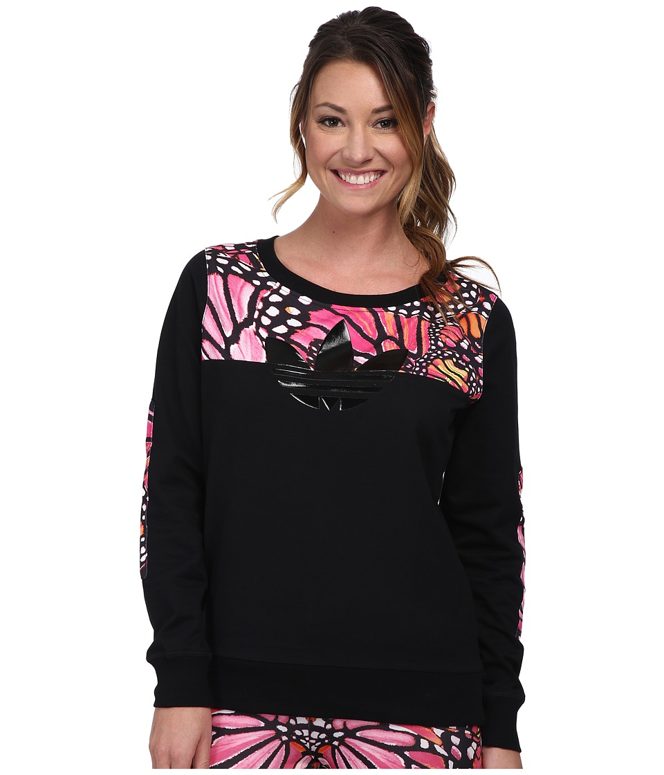 adidas Originals - Butterfly French Terry Fleece Crew (Black/Multicolor) Women