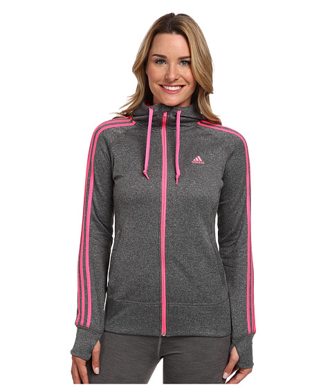 adidas - Go-To Fleece Full-Zip Hoodie (Dark Grey/Solar Pink) Women's Sweatshirt