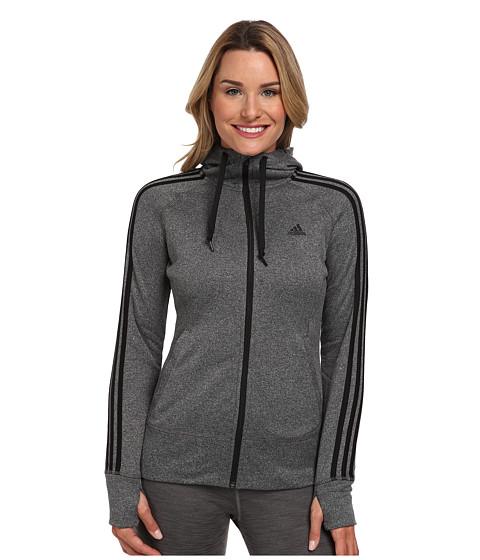 adidas - Go-To Fleece Full-Zip Hoodie (Dark Grey/Black) Women's Sweatshirt