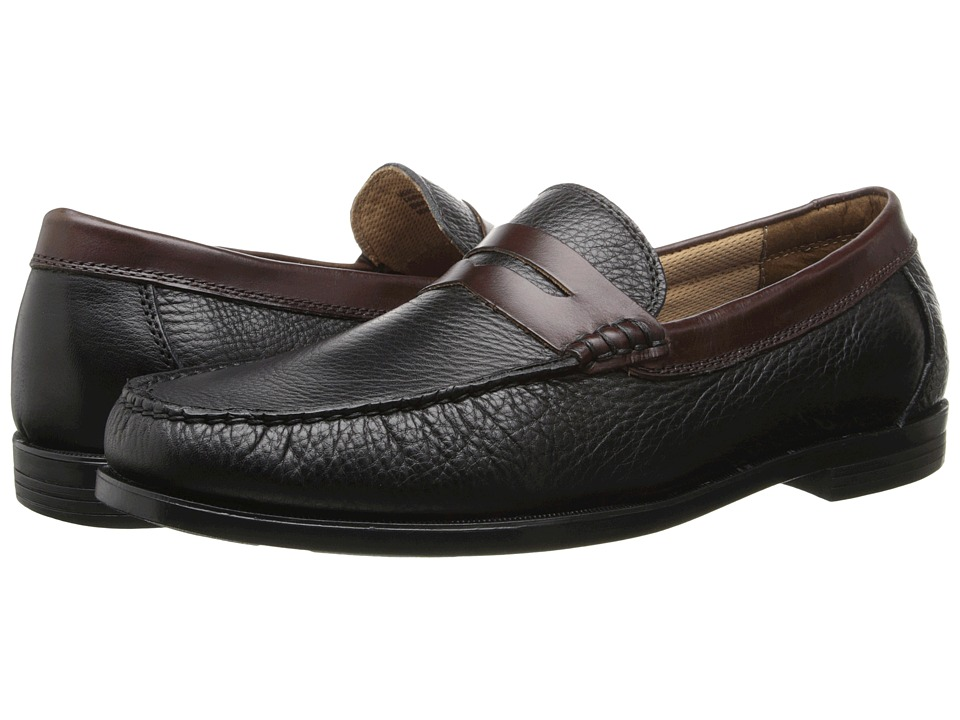 Florsheim - Cricket Penny (Black Milled/Brown Smooth) Men's Slip-on Dress Shoes