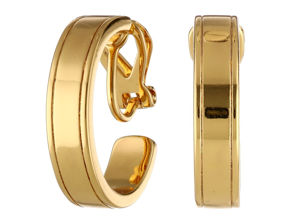 LAUREN Ralph Lauren - Il Pellicano 18mm Etched Metal Hoop Earring (Gold) Earring