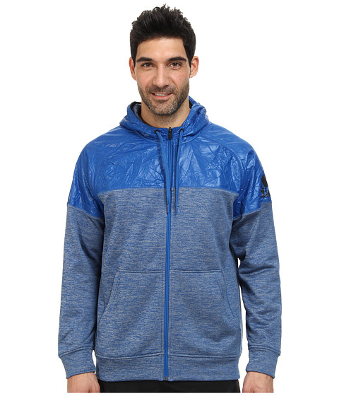 adidas - Team Issue Full-Zip Hoodie (Blue Beauty Heather/Night Grey) Men's Sweatshirt
