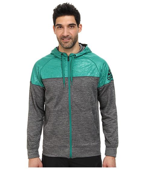 adidas - Team Issue Full-Zip Hoodie (Night Grey/Sub Green) Men's Sweatshirt