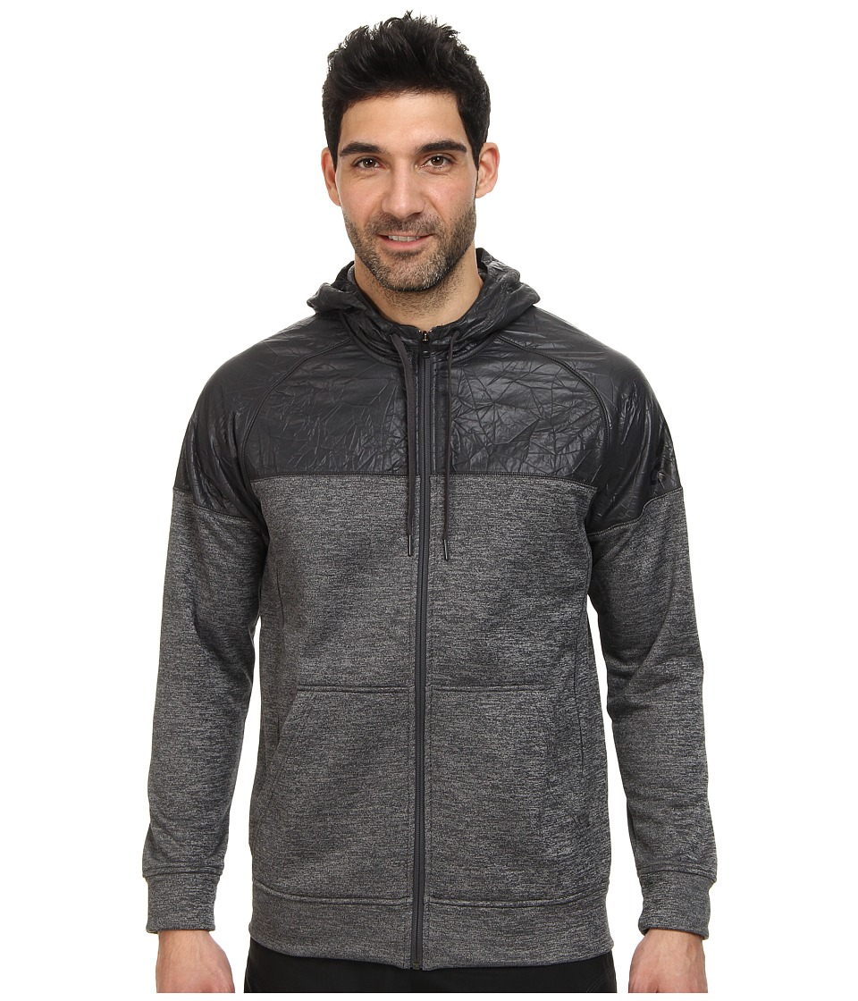 adidas - Team Issue Full-Zip Hoodie (Dark Grey Heather/Black) Men's Sweatshirt