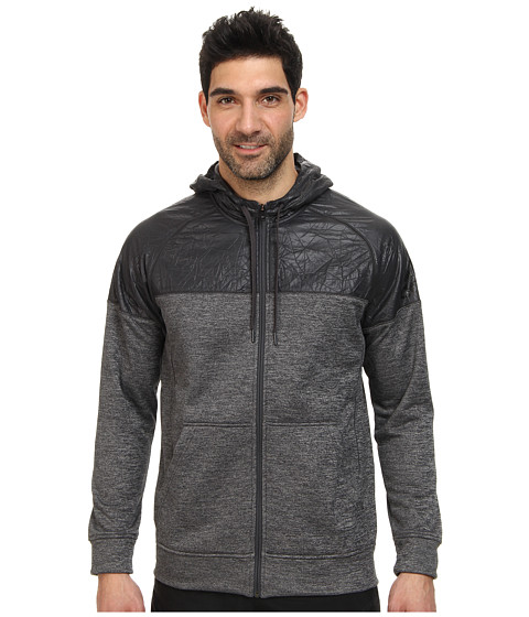 adidas - Team Issue Full-Zip Hoodie (Dark Grey Heather/Black) Men