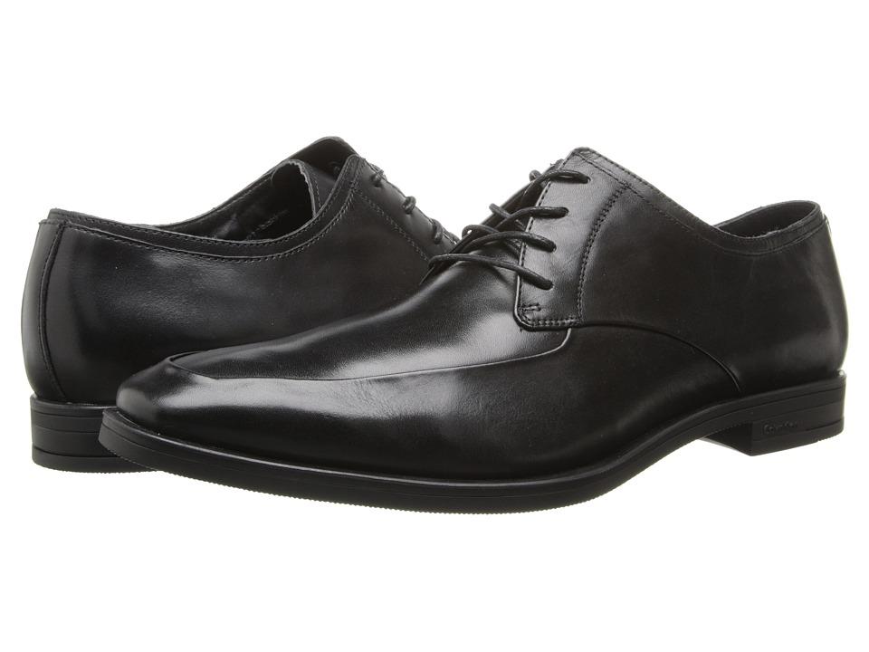 Calvin Klein - Carlow (Black Leather) Men's Lace Up Moc Toe Shoes