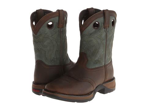 Durango Kids - Lil' Durango 8 Full Grain Saddle (Toddler/Little Kid) (Dark Brown/Forest Green) Kids Shoes