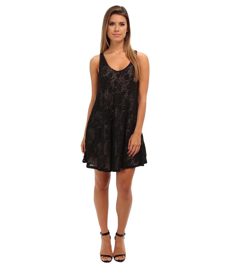 Brigitte Bailey - Lace V-Neck Flowy Dress (Black) Women