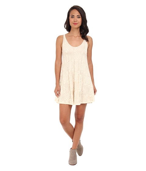 Brigitte Bailey - Lace V-Neck Flowy Dress (Natural) Women's Dress