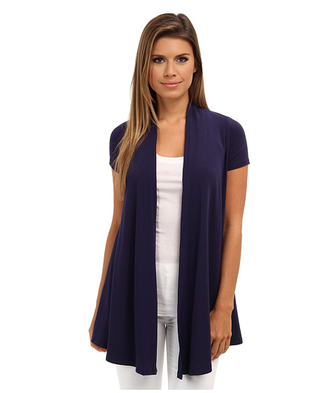 Christin Michaels - Cap Sleeve Cardigan (Navy) Women's Sweater