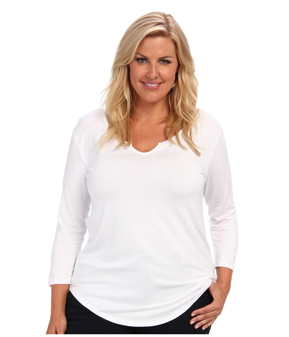 Culture Phit - Plus Size Long Sleeve Basic Top (White) Women