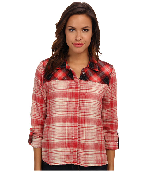 C&C California - Indie Plaid Mix High-Low Shirt (Chrysanthemum) Women's Long Sleeve Button Up