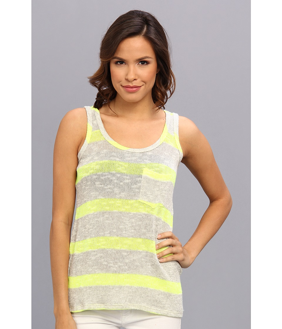 C&C California - Vivid Stripe Loose Knit Pocket Tank (Light Heather Grey) Women