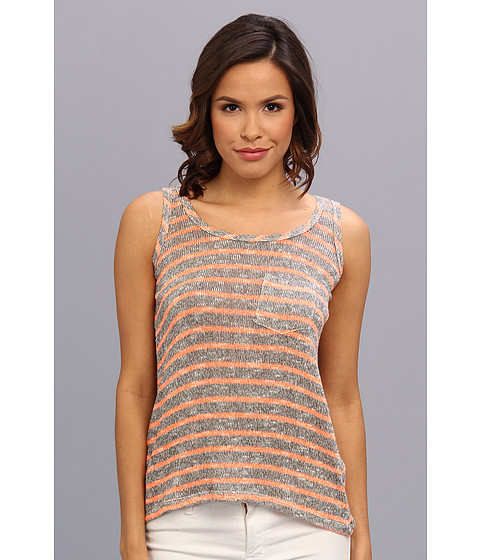 C&C California - Mini Stripe Loose Knit Pocket Tank (Faded Black) Women's Sleeveless