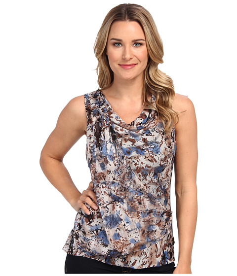 NIC+ZOE - Blue Shadows Hand Painted Top (Multi) Women