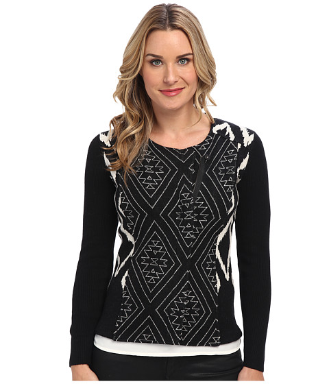 Pendleton - Moto Boiled Wool Cardigan (Black/Ivory) Women's Sweater