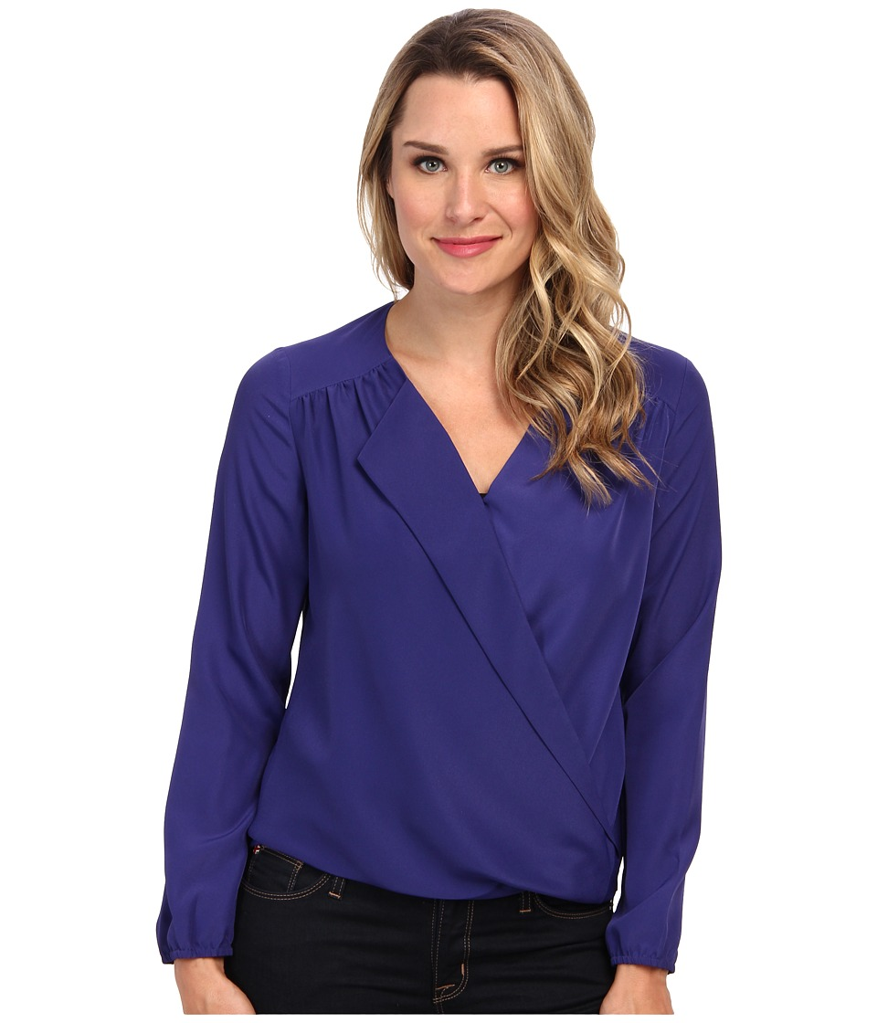 NIC+ZOE - Fluid Wrap Top (Lapis) Women's Blouse