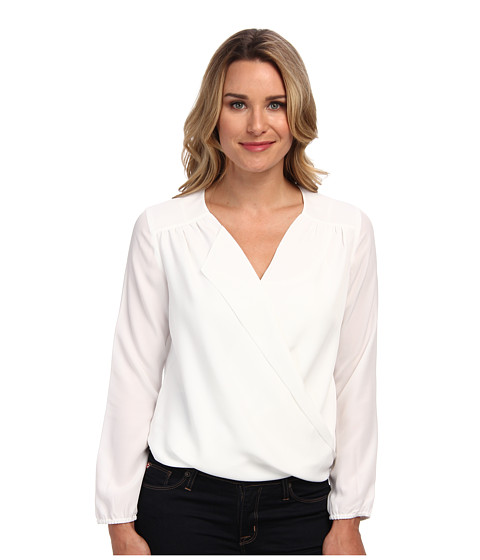 NIC+ZOE - Fluid Wrap Top (Paper White) Women's Blouse