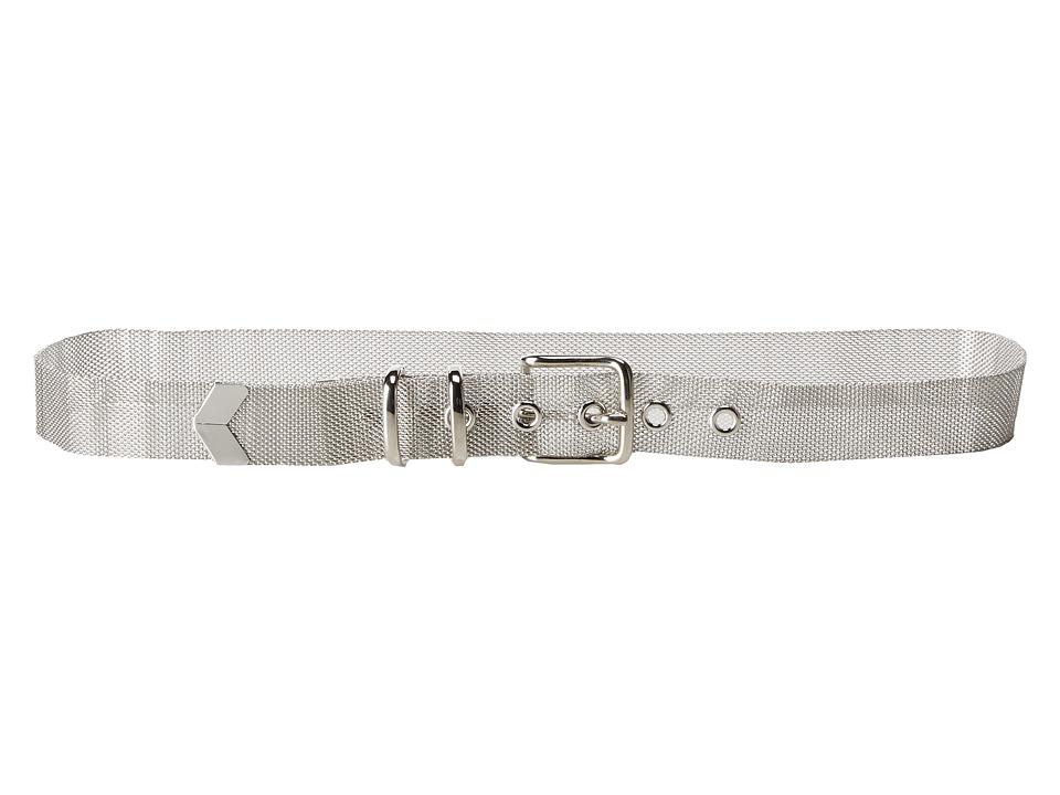 Steve Madden - Metal Mesh Pant Belt (Silver) Women's Belts