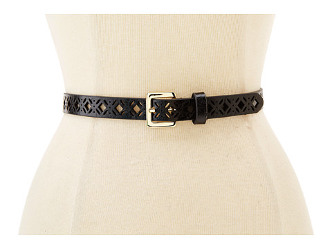 Steve Madden - Diamond Perforated Two for One Belt (Black/Cognac) Women's Belts