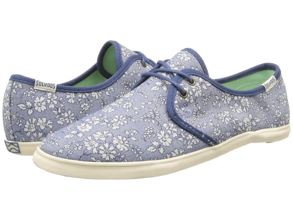 Soludos - Sand Shoe Lace Up Prints (Denim Flowers Blue) Women