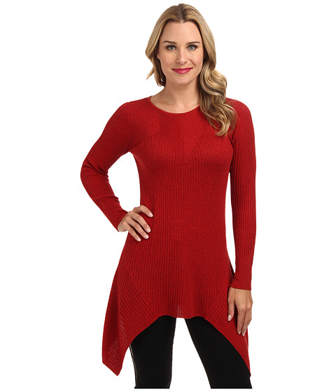 NIC+ZOE - Textured Diamond Tunic Top (Rio Red) Women