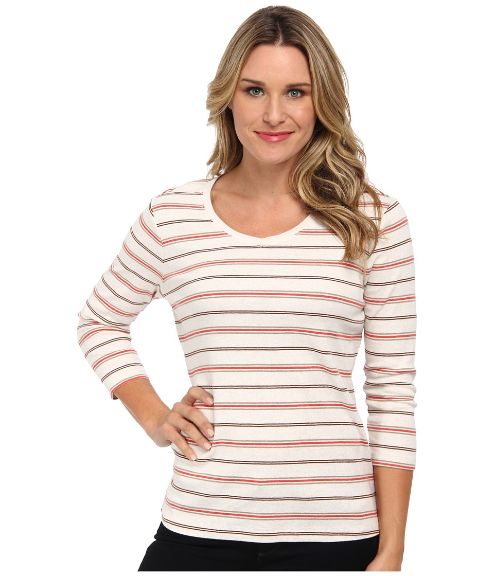 Pendleton - Trekker Stripe Tee (Ivory Heather/Cranberry Heather Stripe) Women's T Shirt