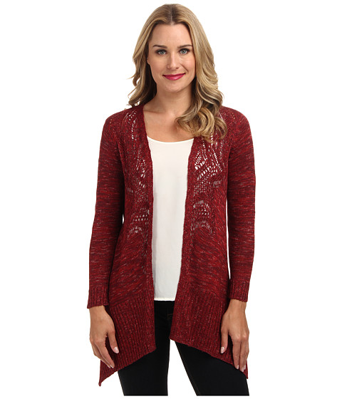 NIC+ZOE - Pretty Pointelle Cardy (Spilled Cranberry) Women's Sweater