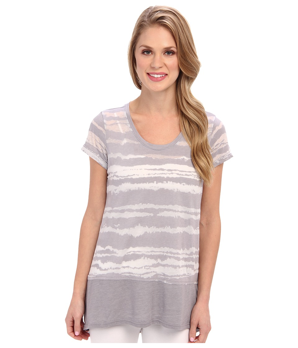 Allen Allen - Blurred Stripe Cap Sleeve (Light Grey) Women's Short Sleeve Pullover
