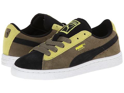 Puma Kids - Suede Jr (Little Kid/Big Kid) (Black/Burnt Olive/Sulphur Spring) Boys Shoes