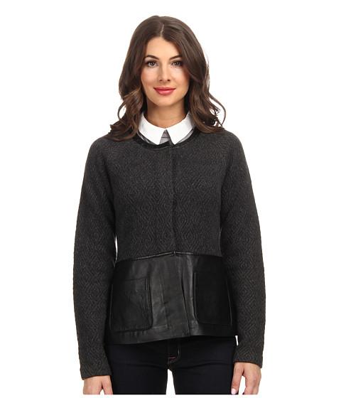 Pendleton - Wool/Leather Mixed Media Jacket (Charcoal/Black) Women