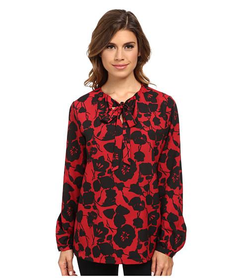 Pendleton - L/S Tie Blouse (Red/Black Floral Print) Women