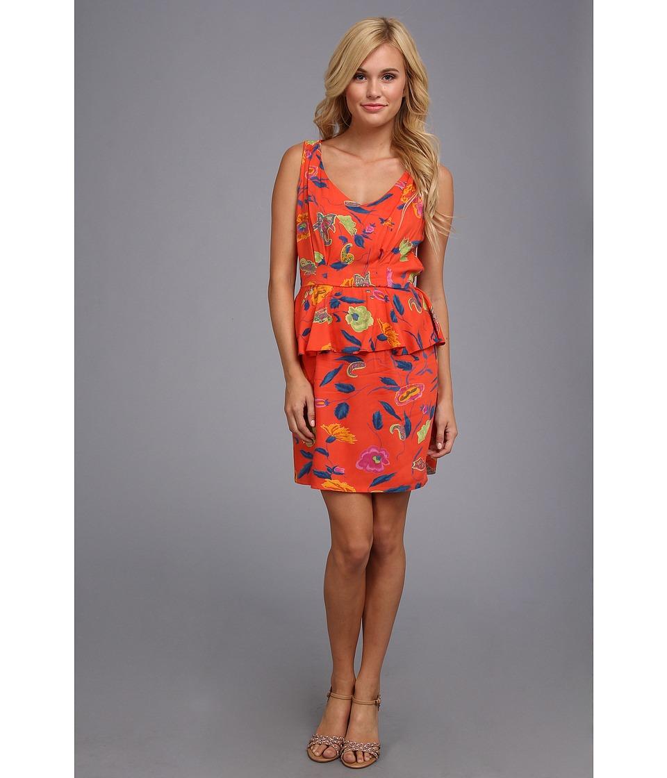 Angie Floral Print Dress Womens Dress (Orange)