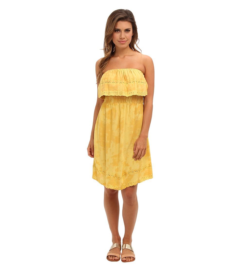 Angie - Solid Eyelet Trim Dress (Yellow) Women