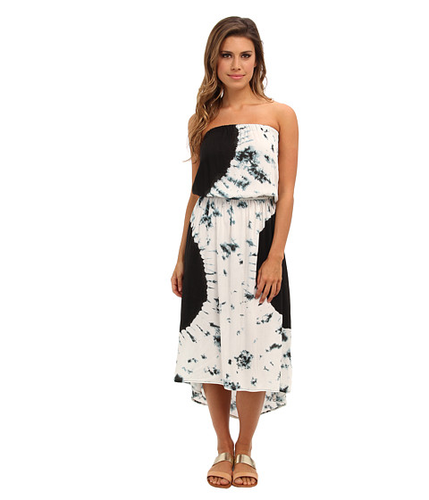 Angie - Strapless Tie-Dye Print Dress (Black/White) Women's Dress