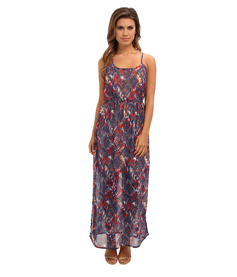 Angie - Printed Maxi Dress (Blue) Women's Dress