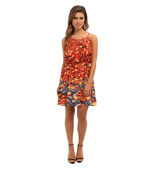Angie - Lattice Trim Print Dress (Orange) Women