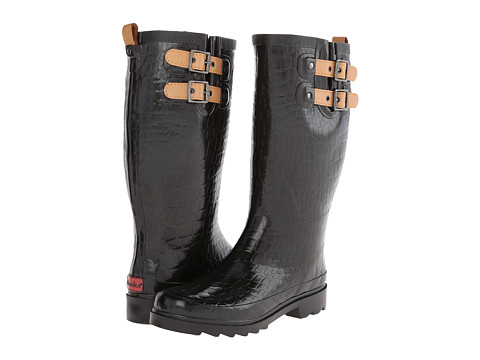 Chooka - Texture Solid Croco Rain Boot (Black) Women's Rain Boots