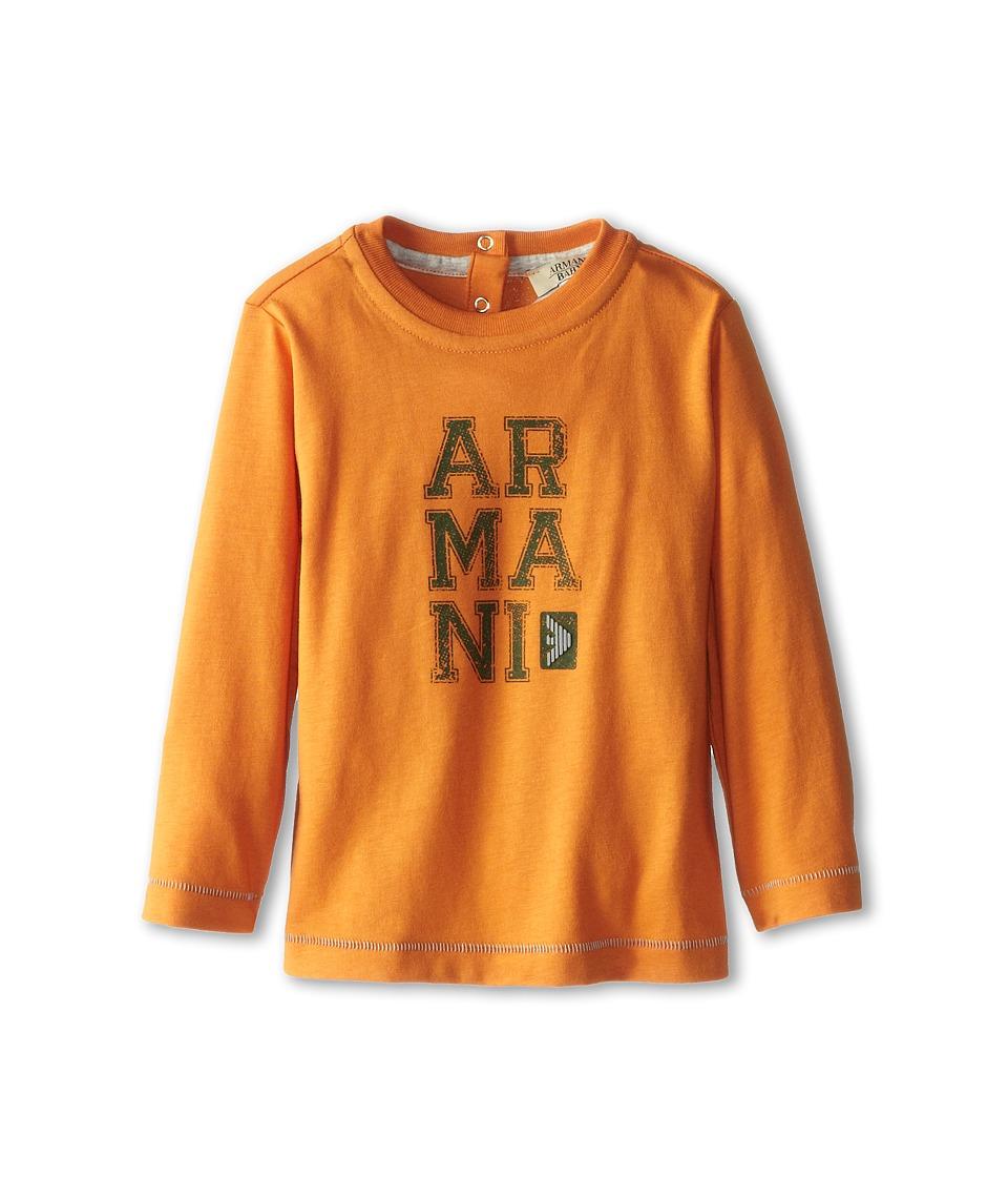 Armani Junior - Long Sleeve Armani T-Shirt (Infant) (Orange) Boy's Long Sleeve Pullover